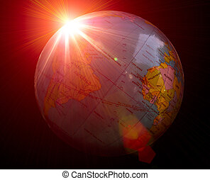 Planet earth with sunrise in dark