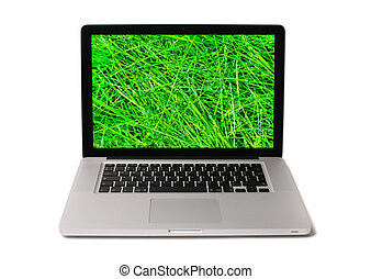 Notebook with wet grass on screen - Modern aluminium...