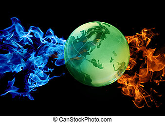 globe against abstract water and fire - green globe against...