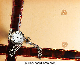 retro album page with vintage clock with chain - album page...