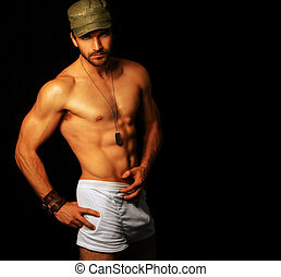 Macho man - Provocative portrait of ultra masculine male...