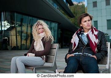 relación, problemas, -, pareja, Al aire libre