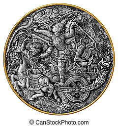 Arjuna and Hanuman - Black and white image of an antique...