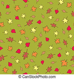 Seamless Fall Leaves - A seamless pattern of assorted types...