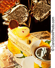 sponge pear cake  with  soft praline in cafe