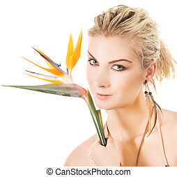 Beautiful woman with exotic flower