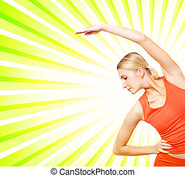 Beautiful young fitness trainer over abstract background
