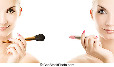 Two beautiful twins holding make-up brush and lipstik...