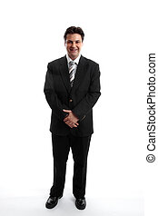 Businessman standing on a plain white background