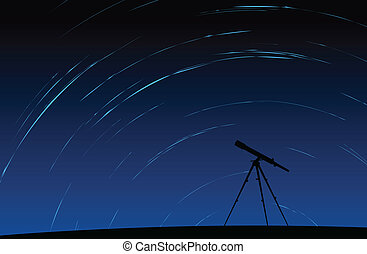 Astronomy - Silhouette of telescope standing with moving...