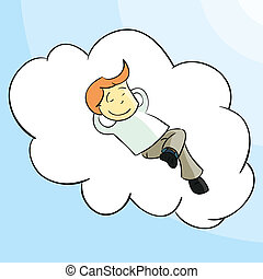 Relax - Man relaxing on a cloud (without falling).