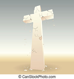 Crumbling Cross - Once golden cross lost its glory, decaying...