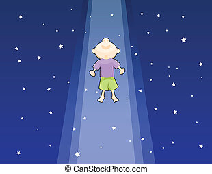 Lifted Up - One boy lifted up to the dark starry sky,...