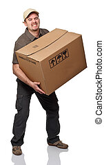 heavy parcel - delivery man with big parcel on white...