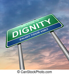 Dignity concept - Illustration depicting a green and blue...