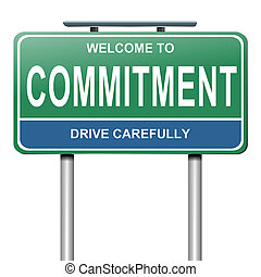 Commitment concept. - Illustration depicting a green and...