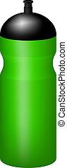 Sport plastic water bottle in green design on white...