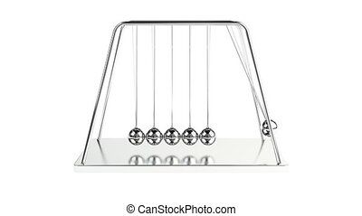 Newton ball - 3d animation of newton's cradle with alpha...