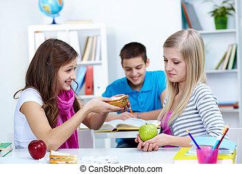 Offering sandwich - Cute girl offering her friend a sandwich...