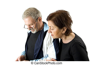 Couple checking the text message - Husband on the Phone...