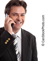 Business Communications - Smiling businessman on a phone...
