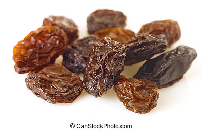 sweet raisins, isolated on the white background