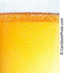 Beer with Bubbles. - Close-up picture of a beer with the...