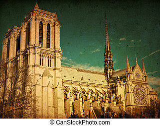 beautiful view Notre Dame Cathedral in paris france (French...
