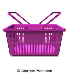 púrpura, compras, cesta, frente, vista