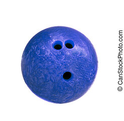 blue marbled bowling ball isolated