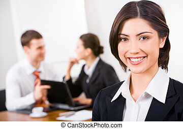 Young leader - Photo of a young businesswoman�s face...