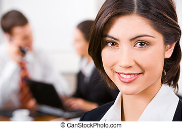 Face of secretary - Face of confident beautiful secretary on...