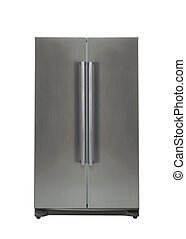 double door freezer - Refrigerator isolated on white