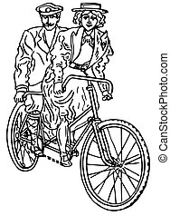 Vintage transport - Man and woman riding retro tandem...