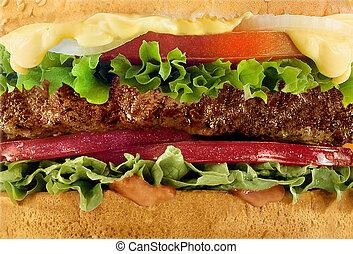 Cheeseburger macro close-up