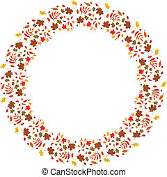 autumnal background - autumnal vector frame with leaves of...
