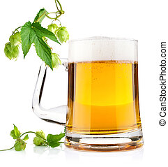 light beer with aromatic hop isolated on white background