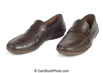 Man Moccasins - New brown moccasins isolated on white...