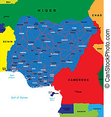 Nigeria map - Detailed map of Nigeria. Each file is...