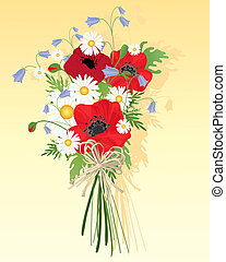 wildflower bouquet - an illustration of a beautiful...