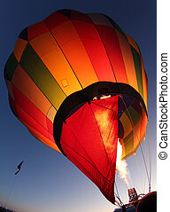 Hot Air Balloon Being Inflated - A hot air balloon getting...