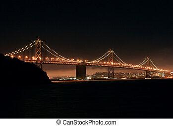 Bay Bridge at Night - View of the Oakland-San Francisco Bay...