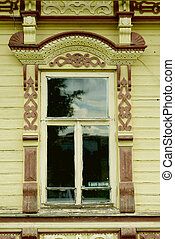 Russian window carved platband