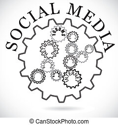 Social media components shown in cog wheels working together...