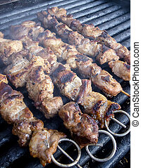 Meat skewers on electric grill