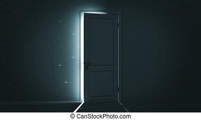 dörr, öppning, himmel, lätt