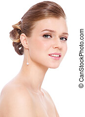 Prom make-up and hairdo - Young beautiful blond girl with...