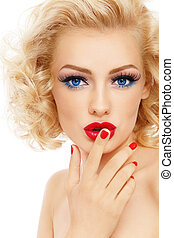 Worning - Young beautiful sexy blonde with stylish make-up...