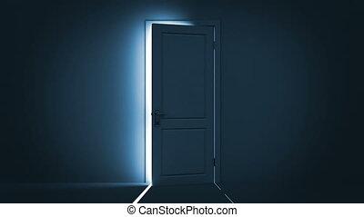 dörr, öppning, lysande, lätt