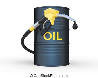 oil barrel and fuel pump nozzle. 3D illustration